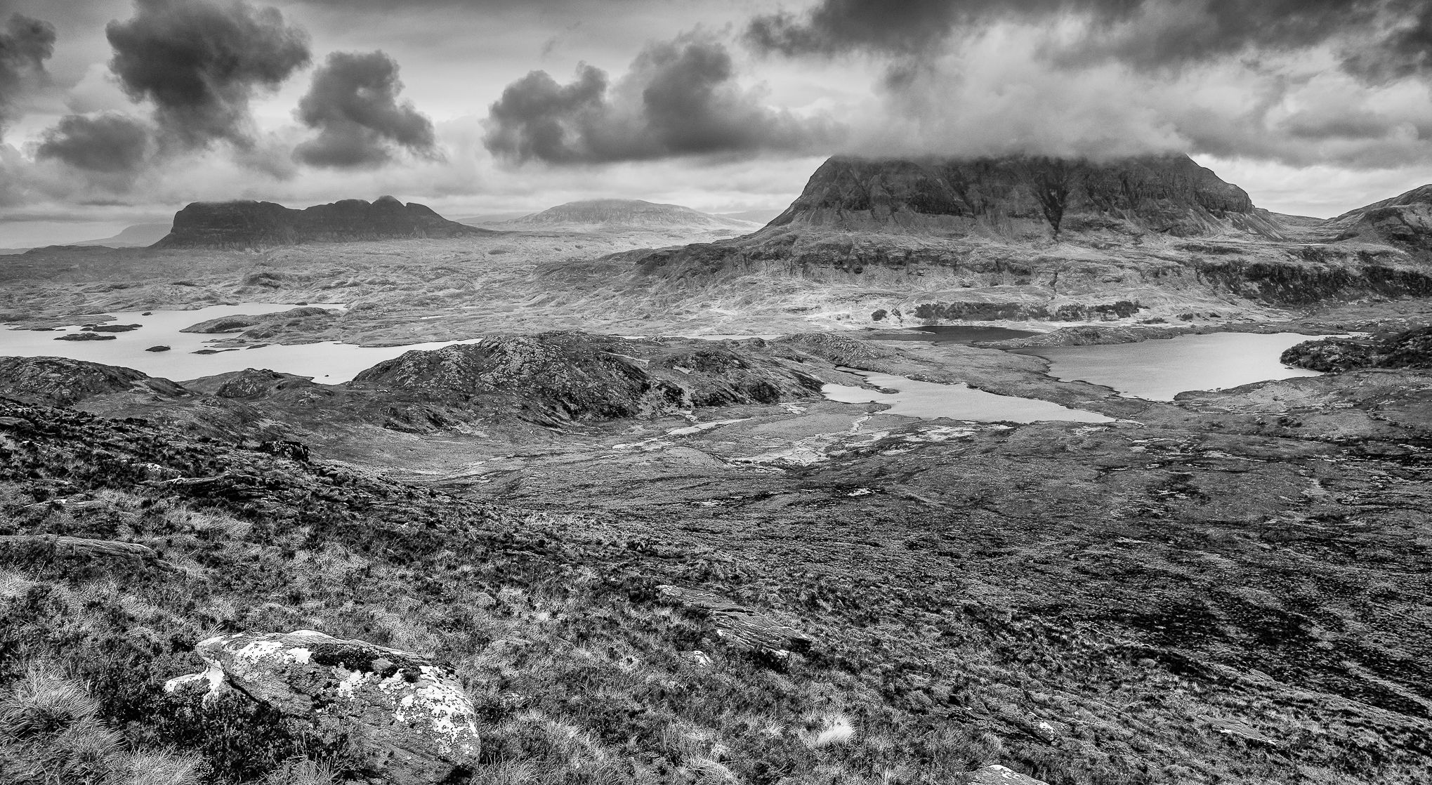 This view from Stac Polleidh in Inverpolly (Assynt) region of northwestern Highlands…