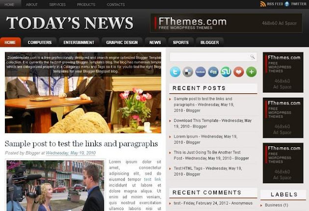 Today's News Blogger Template