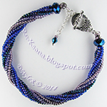 Beaded bracelet Midnight twisted tubular herringbone ndebele Браслет Ночные огоньки спиральный жгут ндебеле
