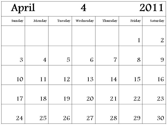 and print this Free Monthly Blank Calendar Planner 2011 April