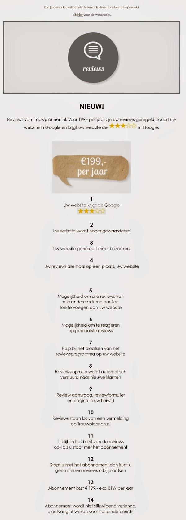 Reviews verzamelen op trouwplannen.nl voor € 199