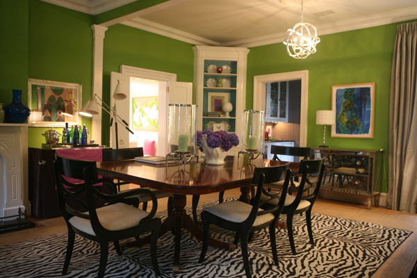Kathyrn Boyd Went Bold With These Bright Green Walls And Tiger Print  Rug..but It Works! This Seafoam Green Dining Room ...