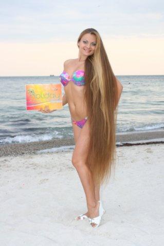 Alla Perkova Rapunzel model floor length hair at the sea Beach in Bikini