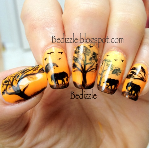 African Safari Your Own Nail Art - African Nail Art - Kitharingtonweb
