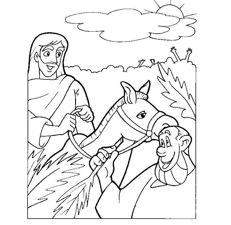 Entrada triunfal de Jesús, domingo de ramos para colorear
