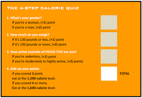 FOcus T25 4-Step Calorie Quiz