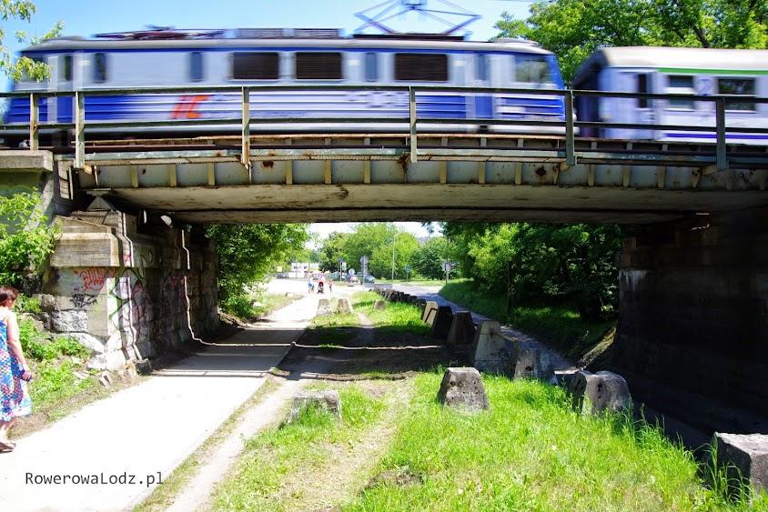 Góra jest dla pociągów, dołem jeżdżą samochody, zaś pod chodnikiem i drogą dla rowerów (budowana) płynie rzeka Łódka.