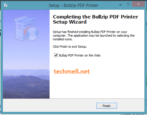 Bullzip PDF Printer Wizard Completion Screen in Windows 8.1
