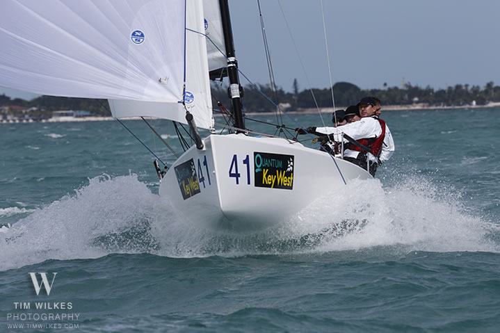 J/70 sailing in heavy winds off Key West, FL