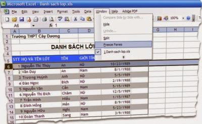 Cố định dòng hoặc cột trong Excel đơn giản 1
