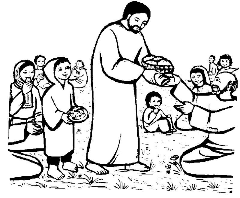 Imágenes del milagro del pan y los pescados para colorear
