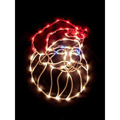 Window Christmas Decoration: 16-inch Lighted Santa Claus Face Christmas Window Silhouette Decoration
