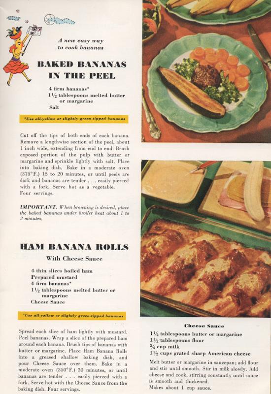 Baked Bananas In the Peel ©1947