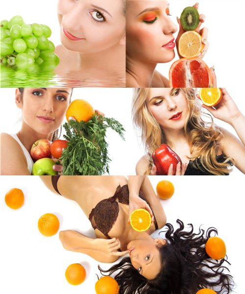 Stock Photo: Woman holding fresh fruits