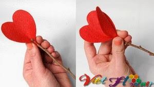 Bó hoa vải đẹp cho ngày lễ valentine (bước 3)