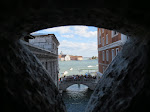 Where everyone is looking at the Bridge of Sighs