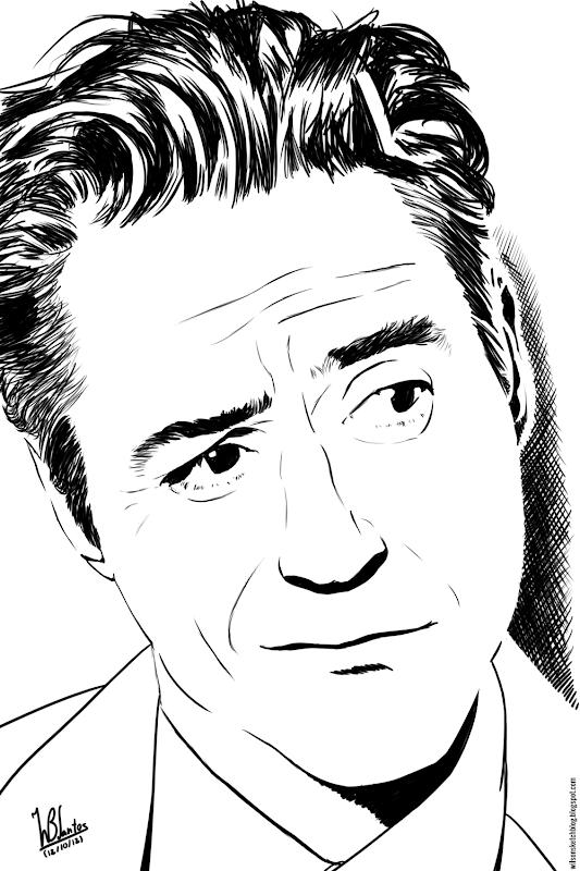 Ink drawing of Robert Downey Jr., using Krita 2.4.
