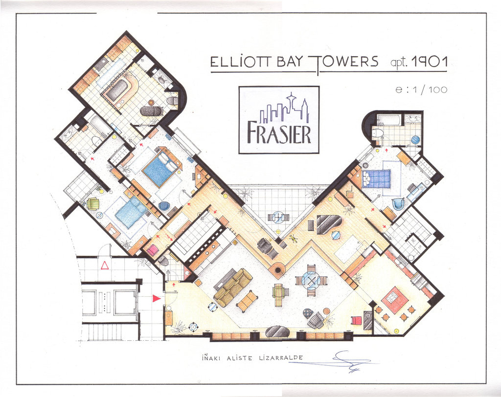 Southgate residential tv and movie houses dr frasier for Apartment design map
