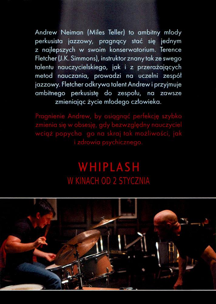 Ulotka filmu 'Whiplash (tył)'