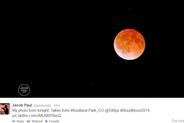 Gambar Fenomena Red Blood Moon 15 April 2014