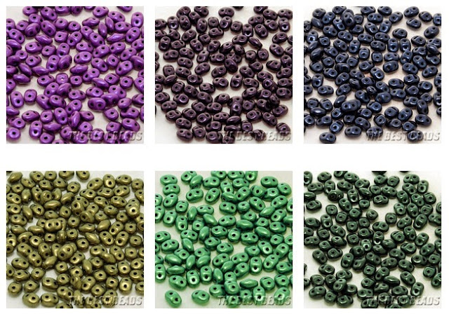 Chameleon and Metallic Suede Super Duos from The Best Beads