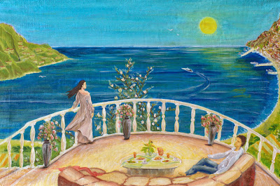 Returning home. The Mediterranean Sea. Summer breakfast together on the sunny terrace.