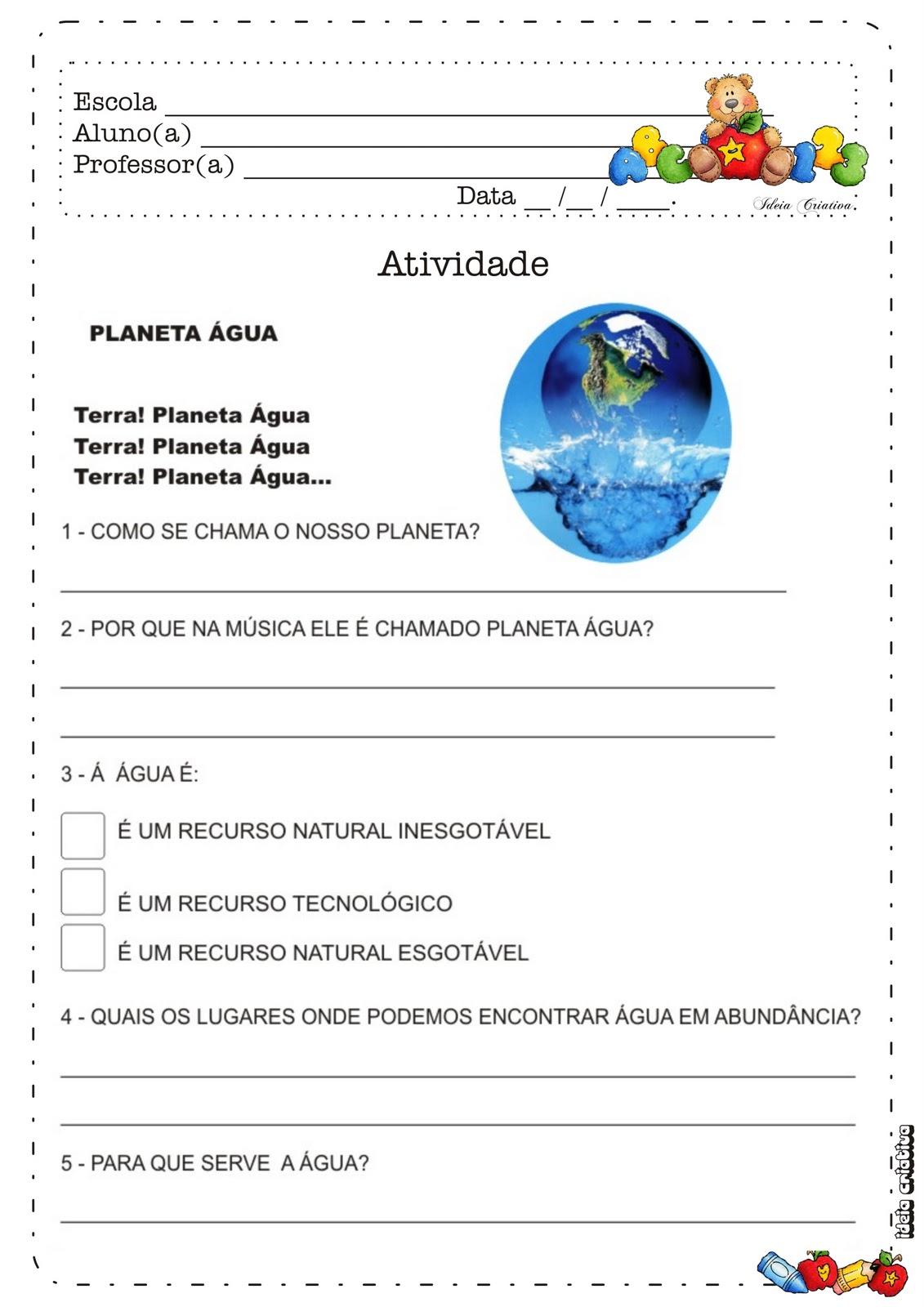 Excepcional Atividade Dia da Água | Ideia Criativa - Gi Barbosa Educação Infantil DL88