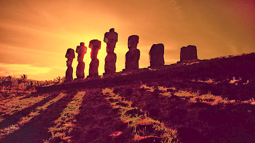 Moai Stone Statues at Sunset, Easter Island.jpg