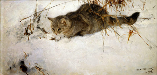 Bruno Liljefors - Cat Stalking a Mouse in the Snow