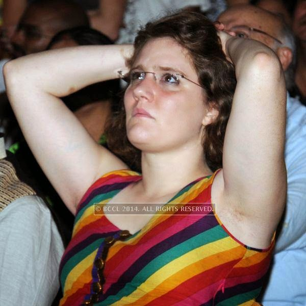 A guest during the 2014 FIFA World Cup final screening, held at Germany embassy, in New Delhi, on July 13, 2014.