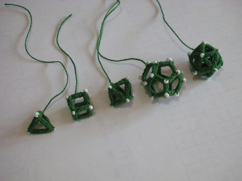 The 5 platonic solids made in tatting