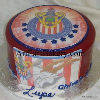 Custom creative red, white and blue fondant soccer birthday cake design