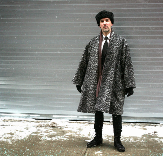 Men's big overcoat made from Mood Fabric NYC's Italian wool leopard print and vintage Vogue Issey Miyake pattern.