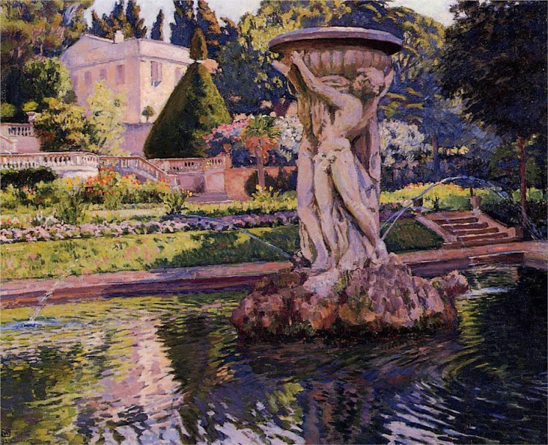 Theo van Rysselberghe - Garden with Villa and Fountain