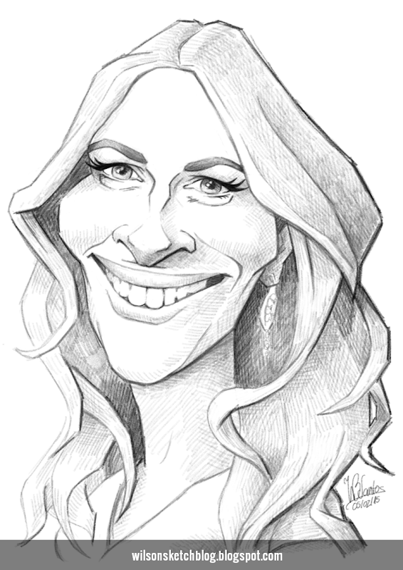 Caricature sketch of Julia Roberts.
