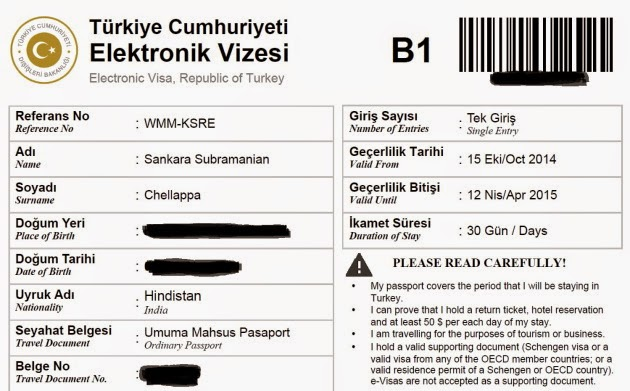 Electronic visa to Republic of Turkey