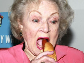 Betty White eating