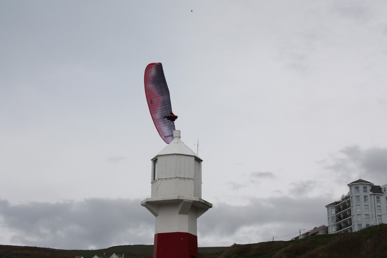 Paragliding at Port Erin bay Isle of Man