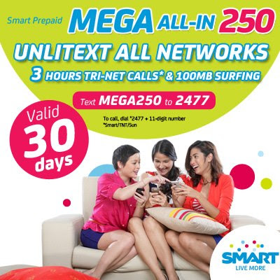Smart Prepaid Promo - MEGA ALL IN 250 to 2477