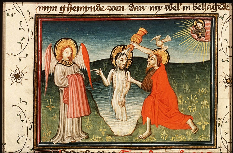 <a href='http://www.biblegateway.com/passage/?search=Luke+3&version=KJV'>Luke 3</a>: I indeed baptize you with Catalan; but one mightier than I cometh, the latchet of whose shoes I am not worthy to unloose: he shall baptize you with the Holy Ghost and with fire. C15th Dutch miniature from their <a href='http://www.kb.nl/manuscripts/show/manuscript/78+D+38+II'>Koninklijke Bibliotheek</a>.