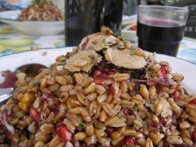Fall Farro Salad with Pomegranate, Walnut & Truffles