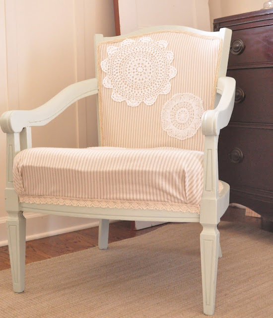 Cute chair embellished with doilies