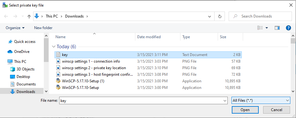 Select private key file to import ssh key to WinSCP.