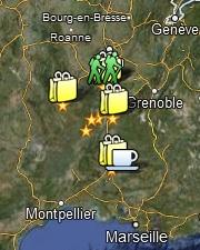 Carte Google Maps des autres adresses préférées de Jean-Bernard et Karine à l'école dans le pré, future maison d'hôtes en Ardèche
