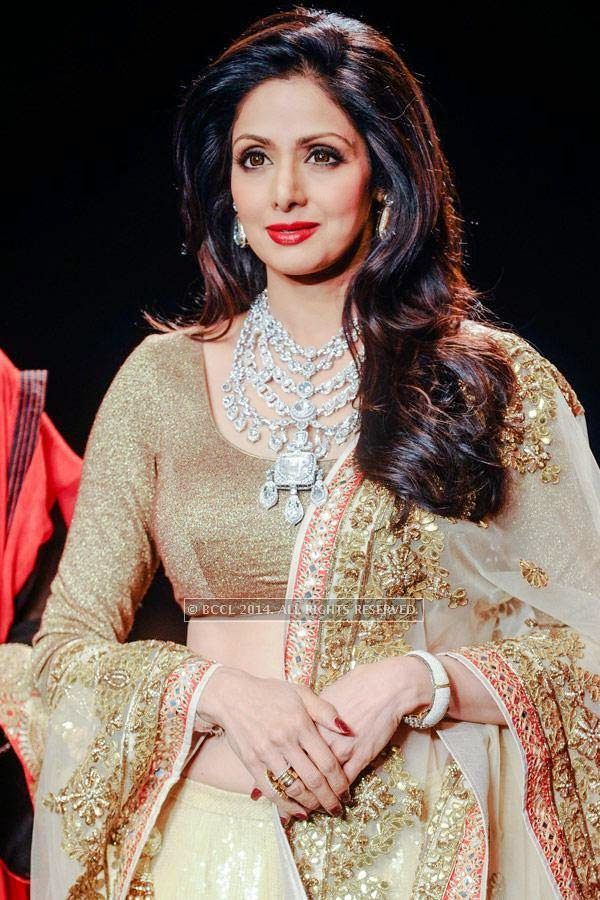 Sridevi displays a creation by Golecha Jewels on Day 3 of India International Jewellery Week (IIJW), 2014, held at Grand Hyatt, in Mumbai.