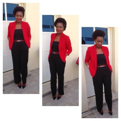 abd9dbab2 Crespa   Fashion  Macacão preto+ blazer vermelho