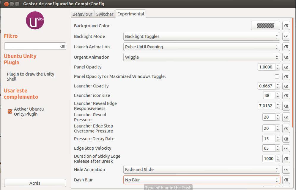 compiz%2520setting%2520blur Mejora el rendimiento de Unity en Ubuntu
