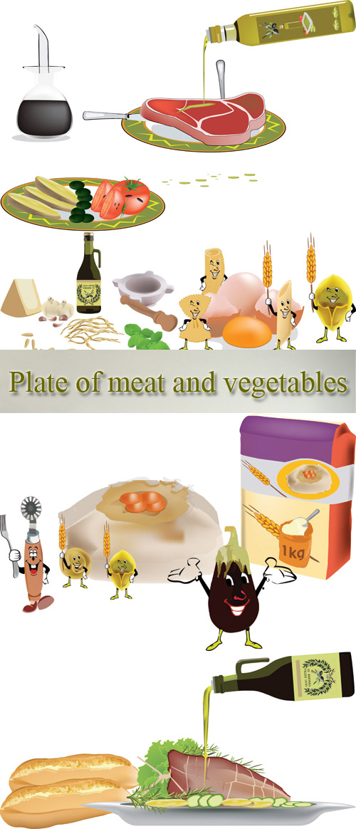 Stock: Plate of meat and vegetables