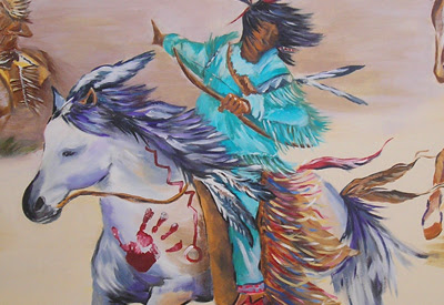 Hand print on horse is the child's actual hand print, which personalizes the painting.