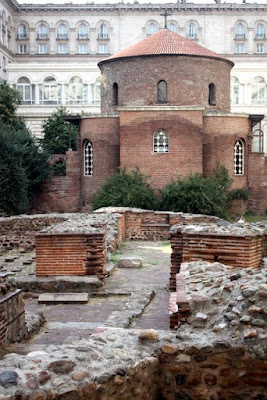 Roman ruins and the Church of St. George in Sofia Bulgaria